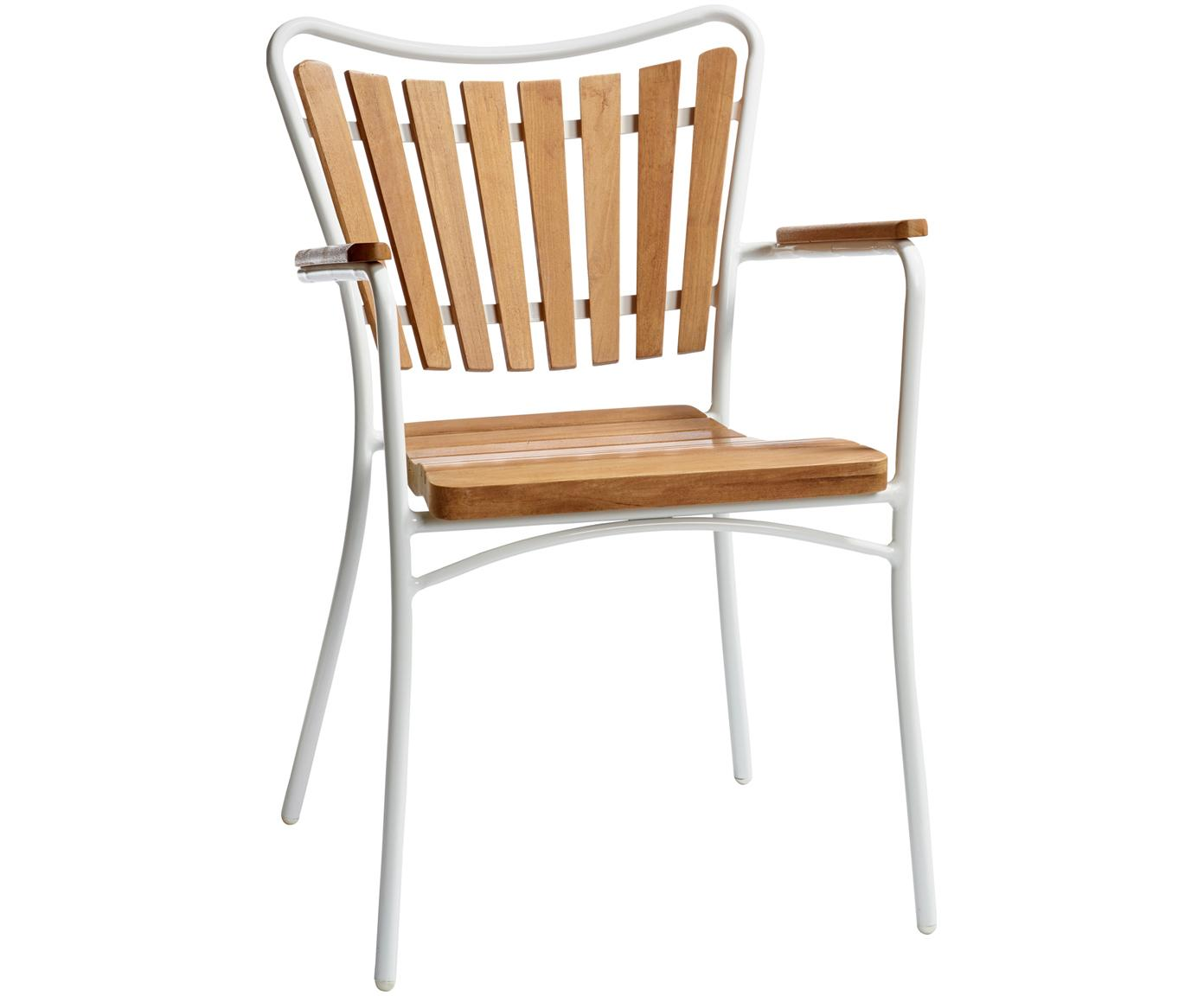 Sedia da giardino Hard & Ellen, Struttura: alluminio verniciato a po, Bianco, teak, Larg. 56 x Alt. 78 cm