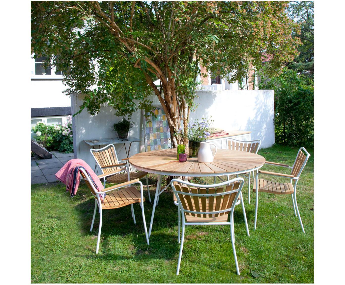 Krzesło ogrodowe Hard & Ellen, Stelaż: aluminium malowane proszk, Biały, drewno tekowe, S 56 x W 78 cm