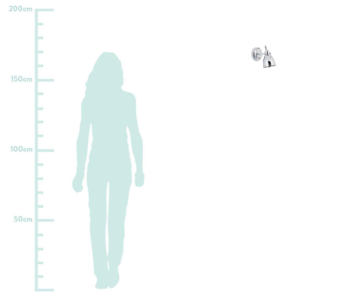 Applique Fjällbacka, Lampada: metallo cromato, Cromo, Larg. 12 x Alt. 17 cm