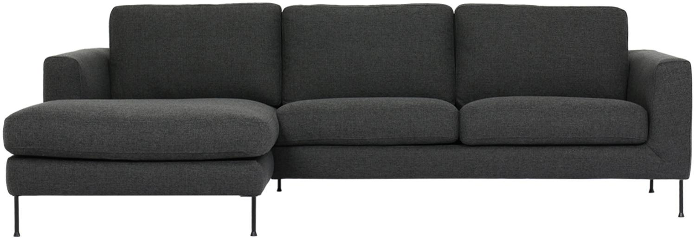 Ecksofa Cucita (3-Sitzer), Bezug: Webstoff (Polyester) 45.0, Gestell: Massives Kiefernholz, Füße: Metall, lackiert, Webstoff Anthrazit, B 262 x T 163 cm