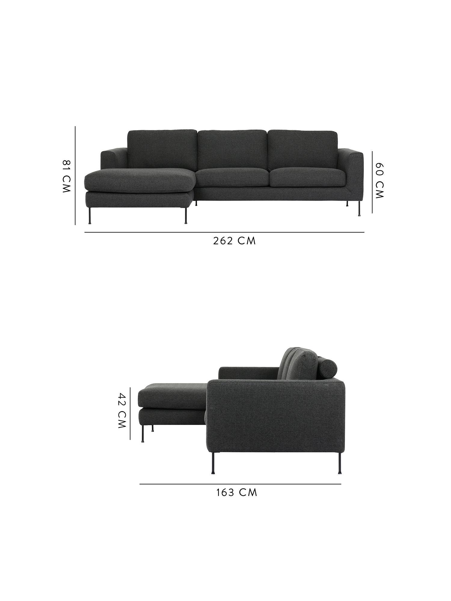 Canapé d'angle 3 places Cucita, Tissu anthracite