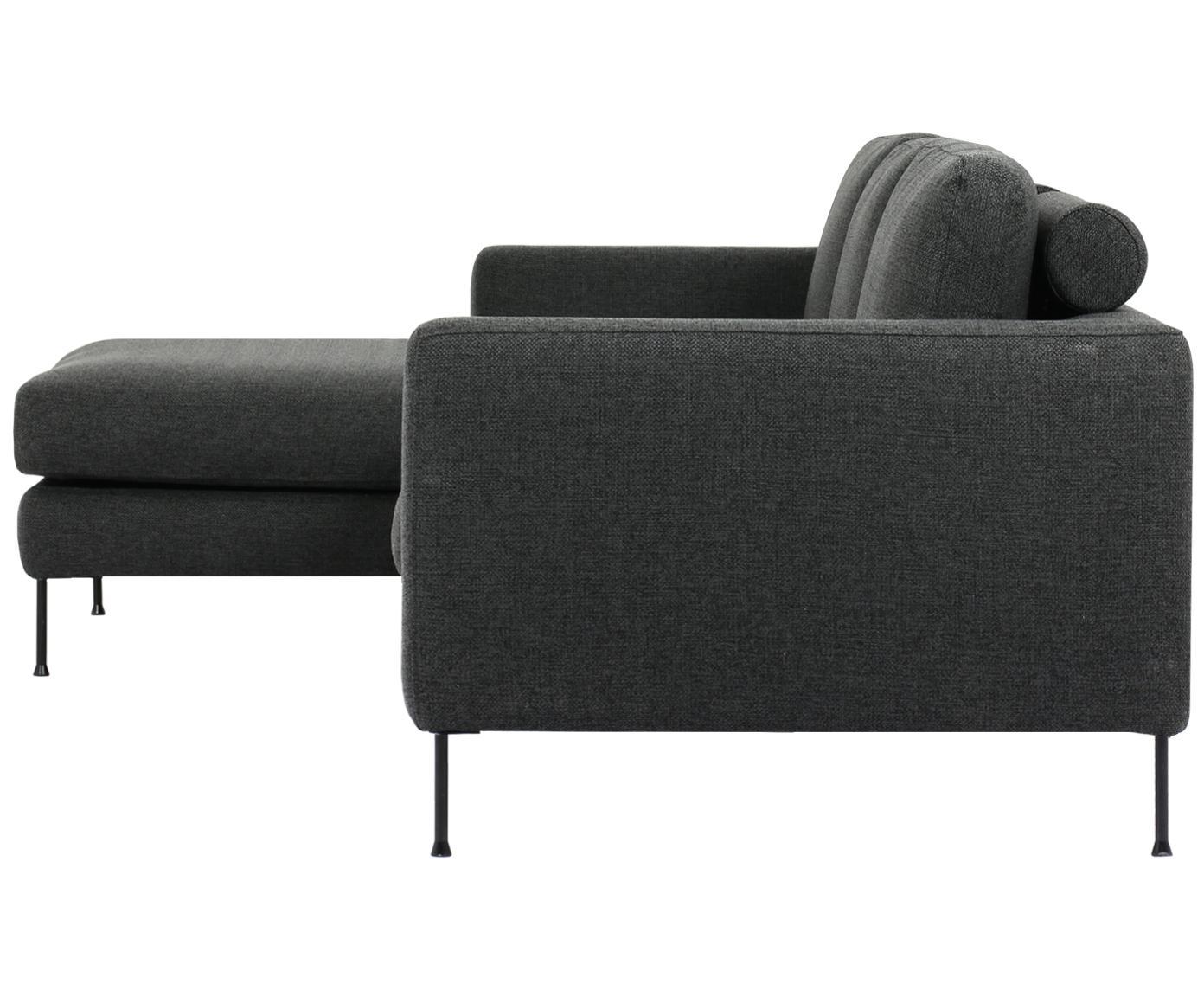 Hoekbank Cucita (3-zits), Bekleding: geweven stof (polyester), Frame: massief grenenhout, Poten: gelakt metaal, Antraciet, B 262 x D 163 cm
