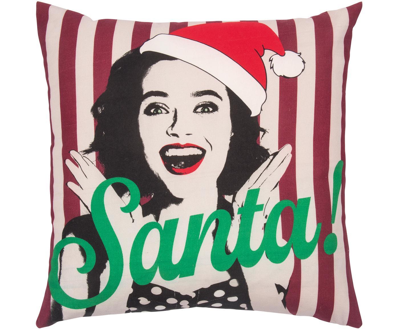 Gestreepte kussenhoes Santa, Katoen, Rood wit, groen, zwart, 45 x 45 cm