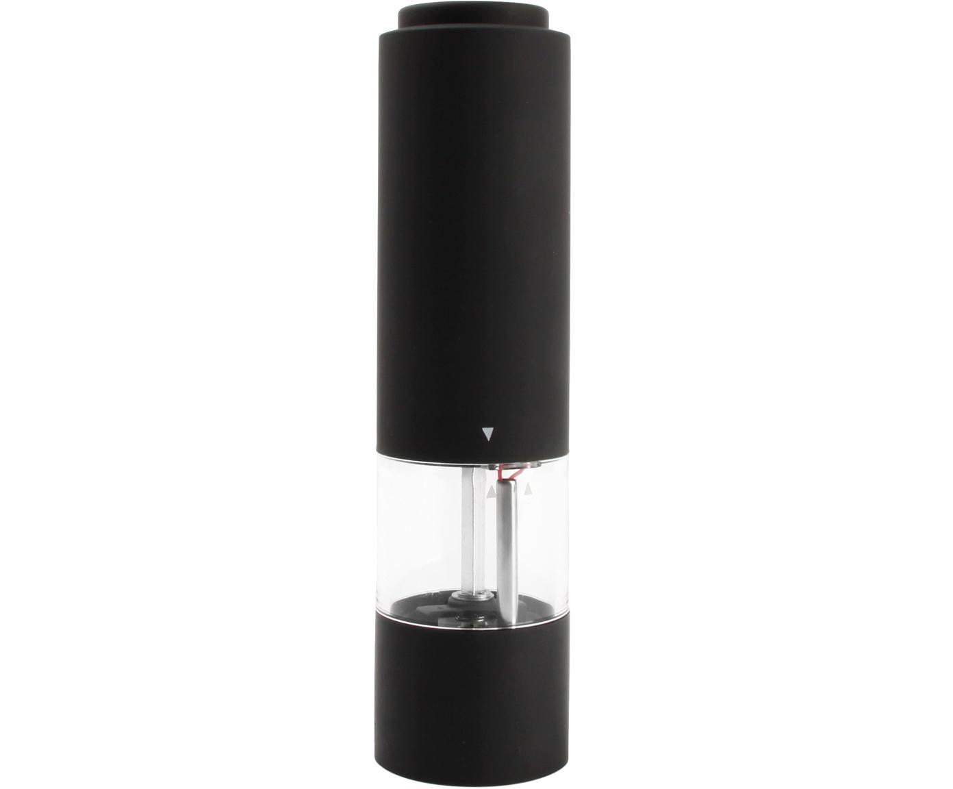 Elektrische Gewürzmühle Lecta in Schwarz, Acryl, Kunststoff (ABS), Gummi, Keramik, Schwarz, Transparent, Silberfarben, Ø 5 x H 19 cm