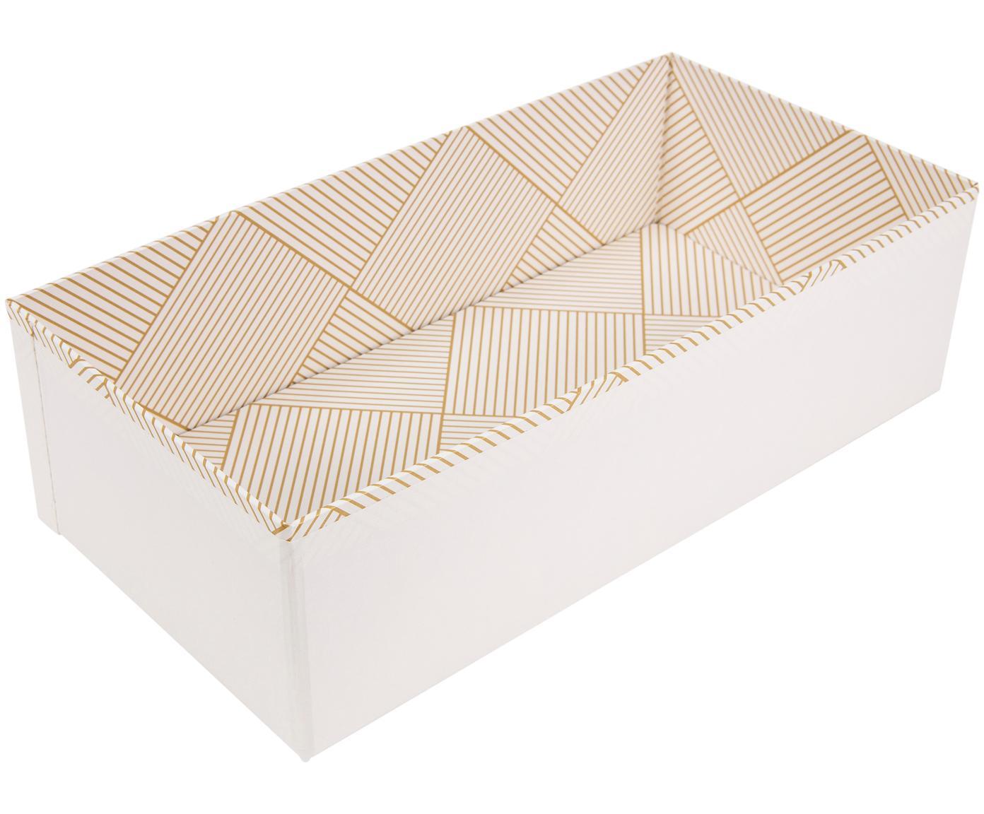 Aufbewahrungskiste Drawer, Fester, laminierter Karton, Goldfarben, Weiss, 36 x 10 cm