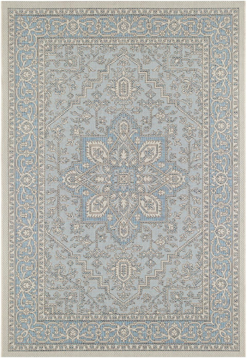 In- & Outdoor-Teppich Anjara im Vintage Style, 100% Polypropylen, Azurblau, Taupe, B 200 x L 290 cm (Größe L)