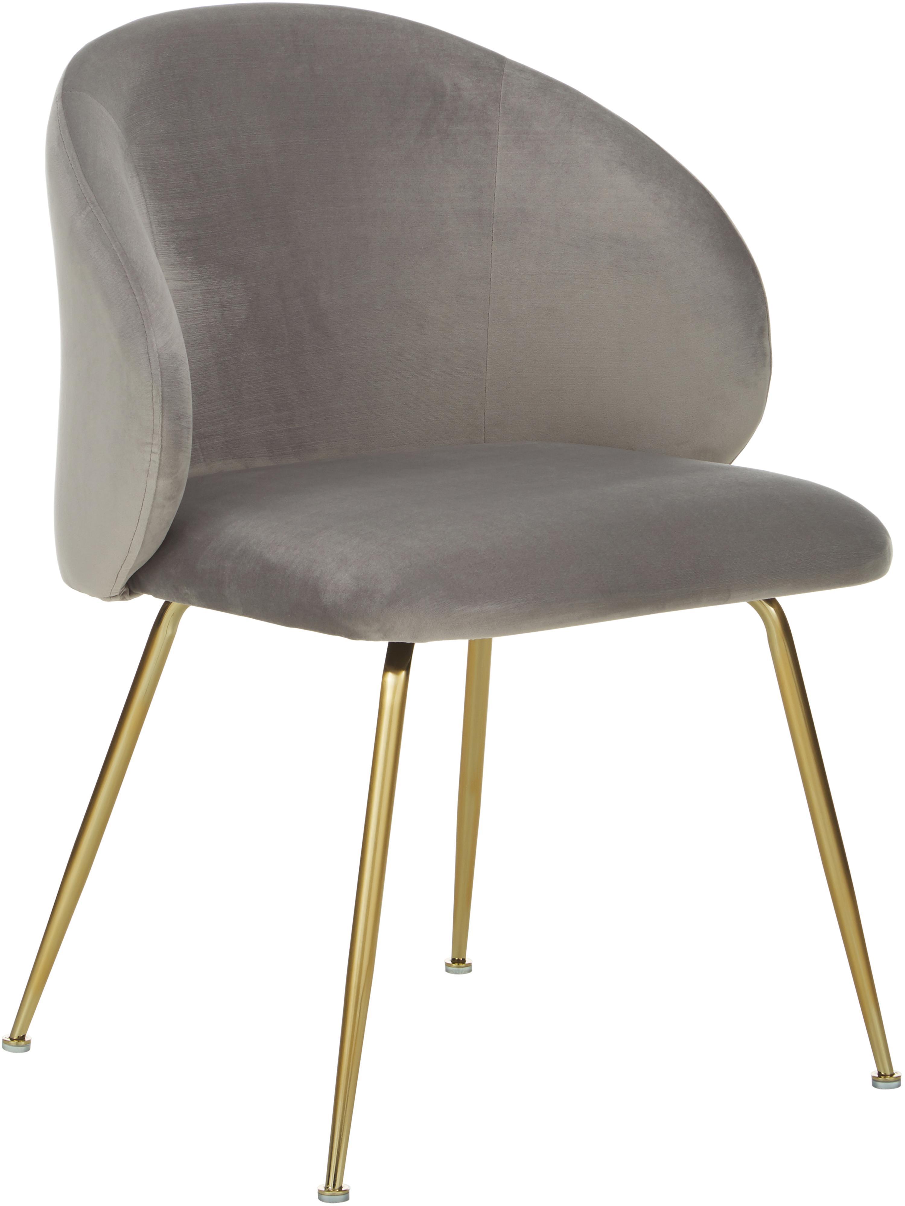 Fluwelen stoelen Luisa, 2 stuks, Bekleding: fluweel (100% polyester), Poten: gelakt metaal, Fluweel lichtgrijs, goudkleurig, B 61 x D 58 cm