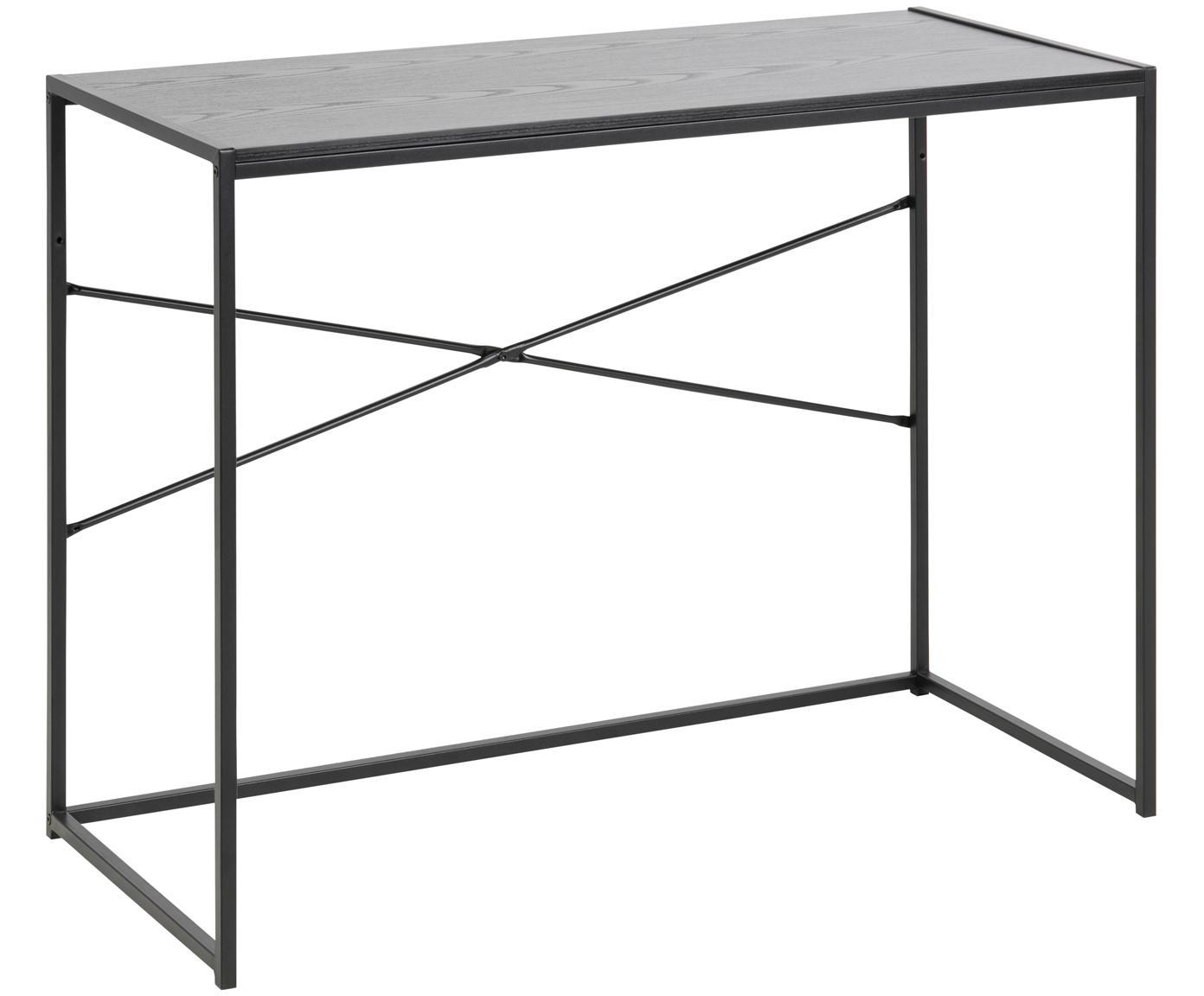Scrivania in legno e metallo Seaford, Struttura: metallo verniciato a polv, Piano d'appoggio: pannello di fibra a media, Nero, Larg. 100 x Prof. 45 cm