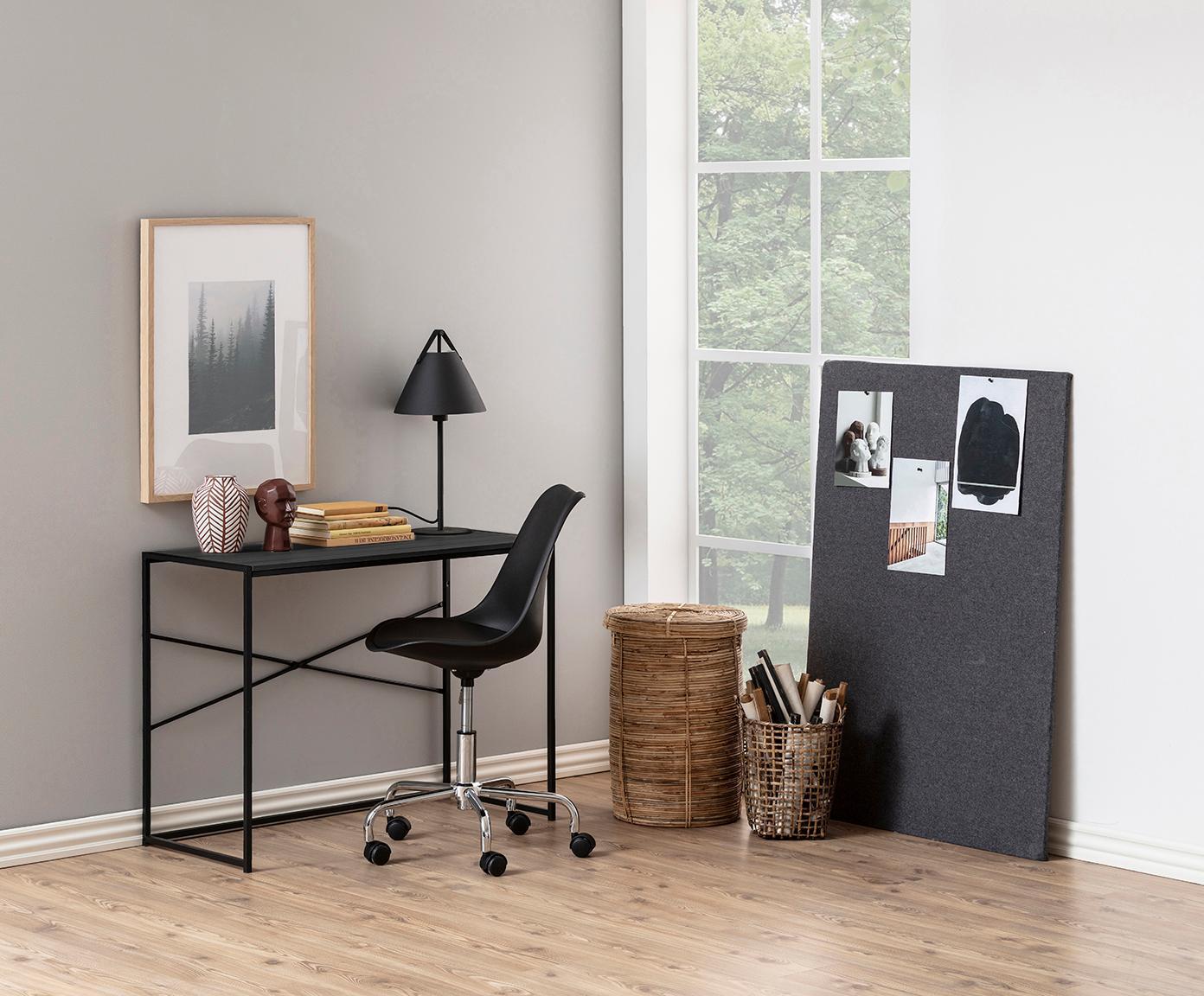 Bureau Seaford, Frame: gepoedercoat metaal, Tafelblad: MDF, essenhoutfineer, mel, Zwart, B 100 x D 45 cm