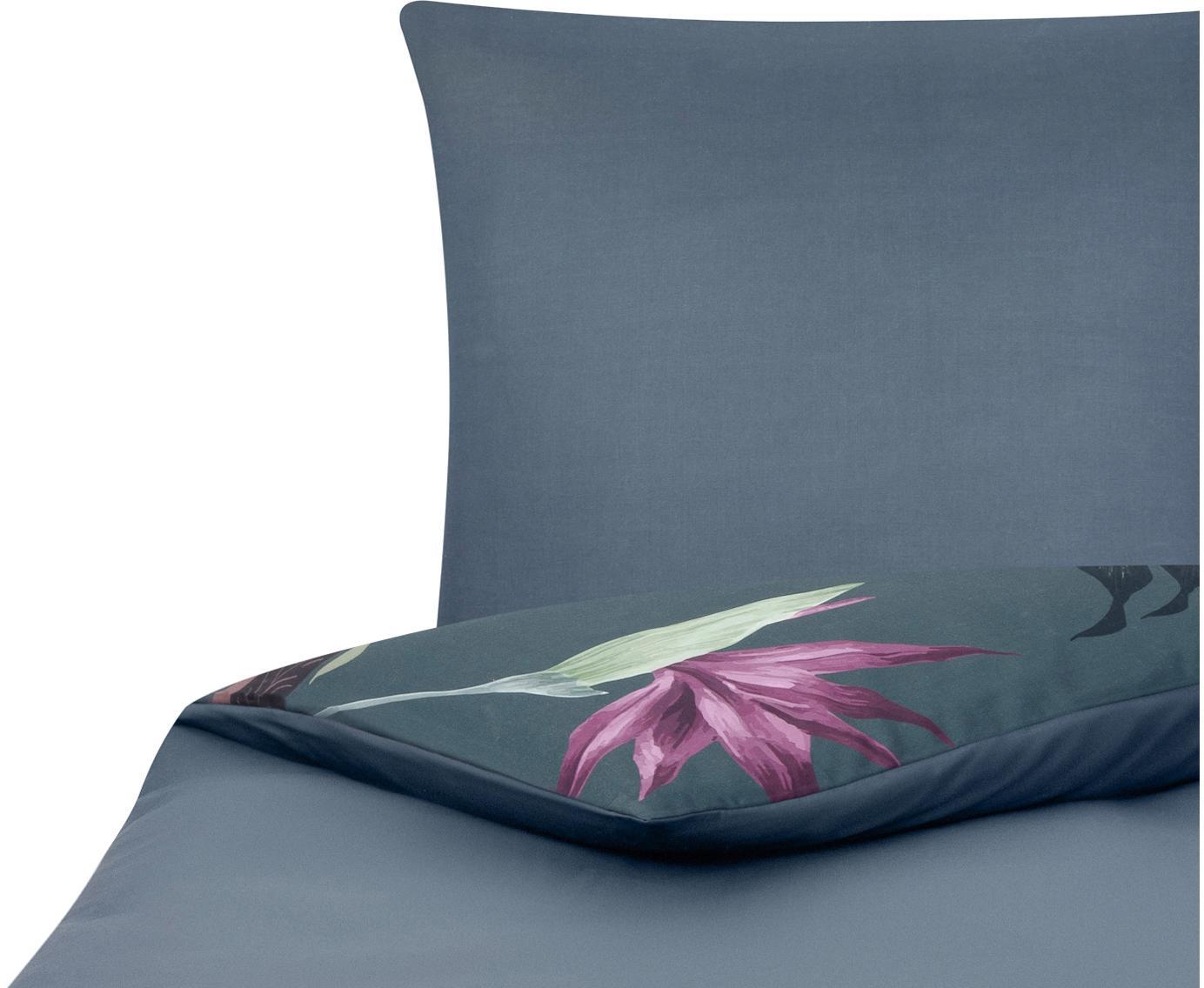 Baumwollsatin-Bettwäsche Flora in Dunkelgrau, Webart: Satin Fadendichte 210 TC,, Vorderseite: MehrfarbigRückseite: Dunkelgrau, 135 x 200 cm + 1 Kissen 80 x 80 cm