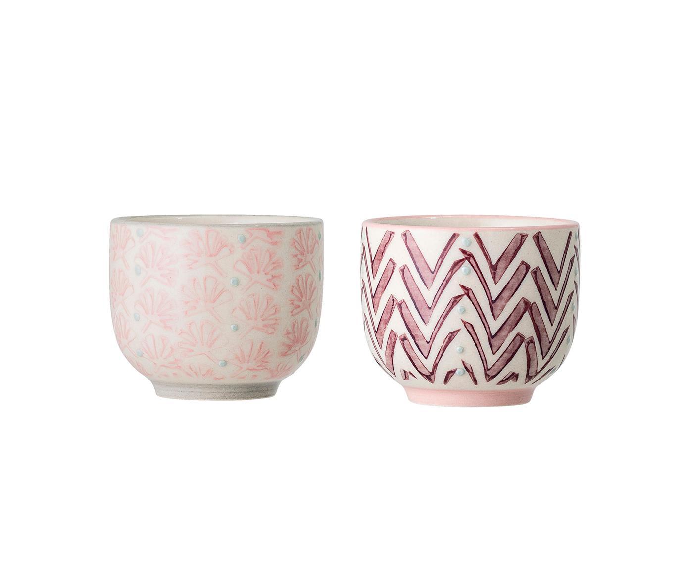 Set de tazas de café Maya, 2pzas., Gres, Beige, rosa, lila, azul, Ø 6 x Al 5 cm