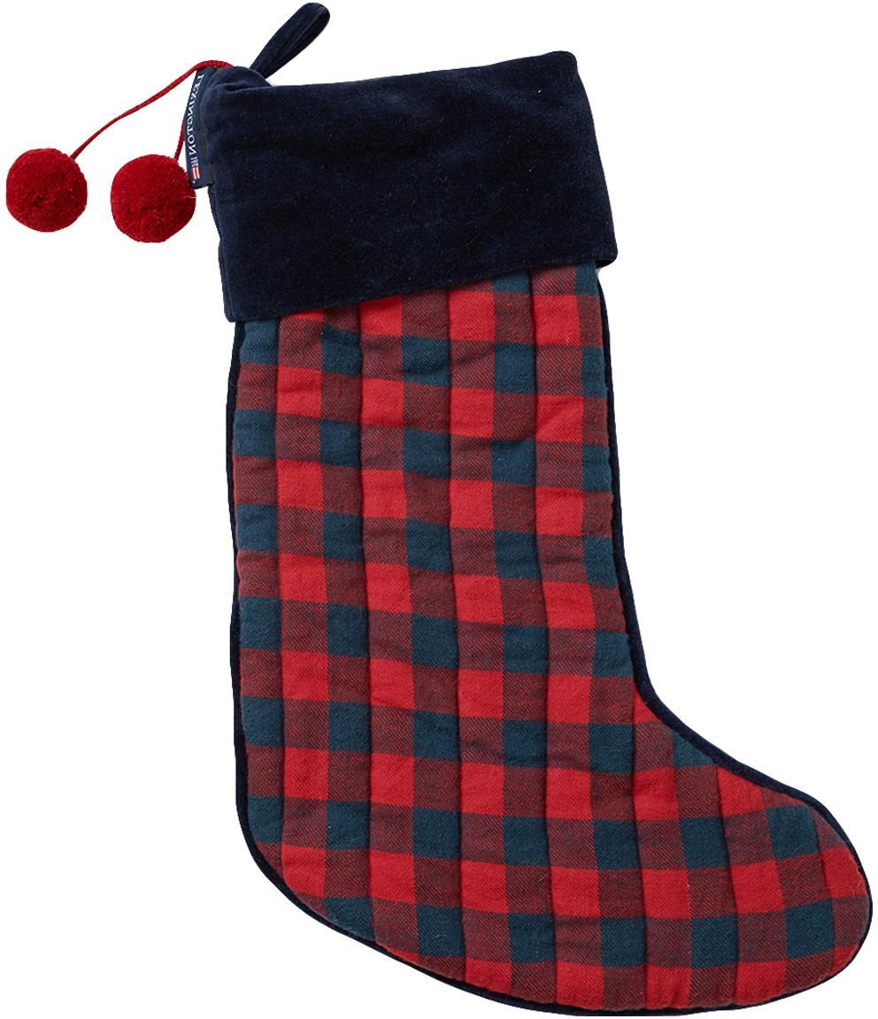Calza di Babbo Natale Holiday, Cotone, Blu scuro, rosso, Lung. 45 cm