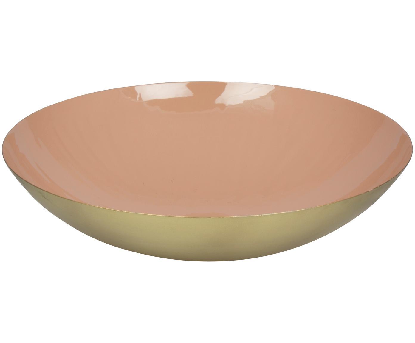 Miska Julienne, Metal powlekany, Wewnątrz: różowy Na zewnątrz: odcienie złotego, Ø 34 x W 9 cm
