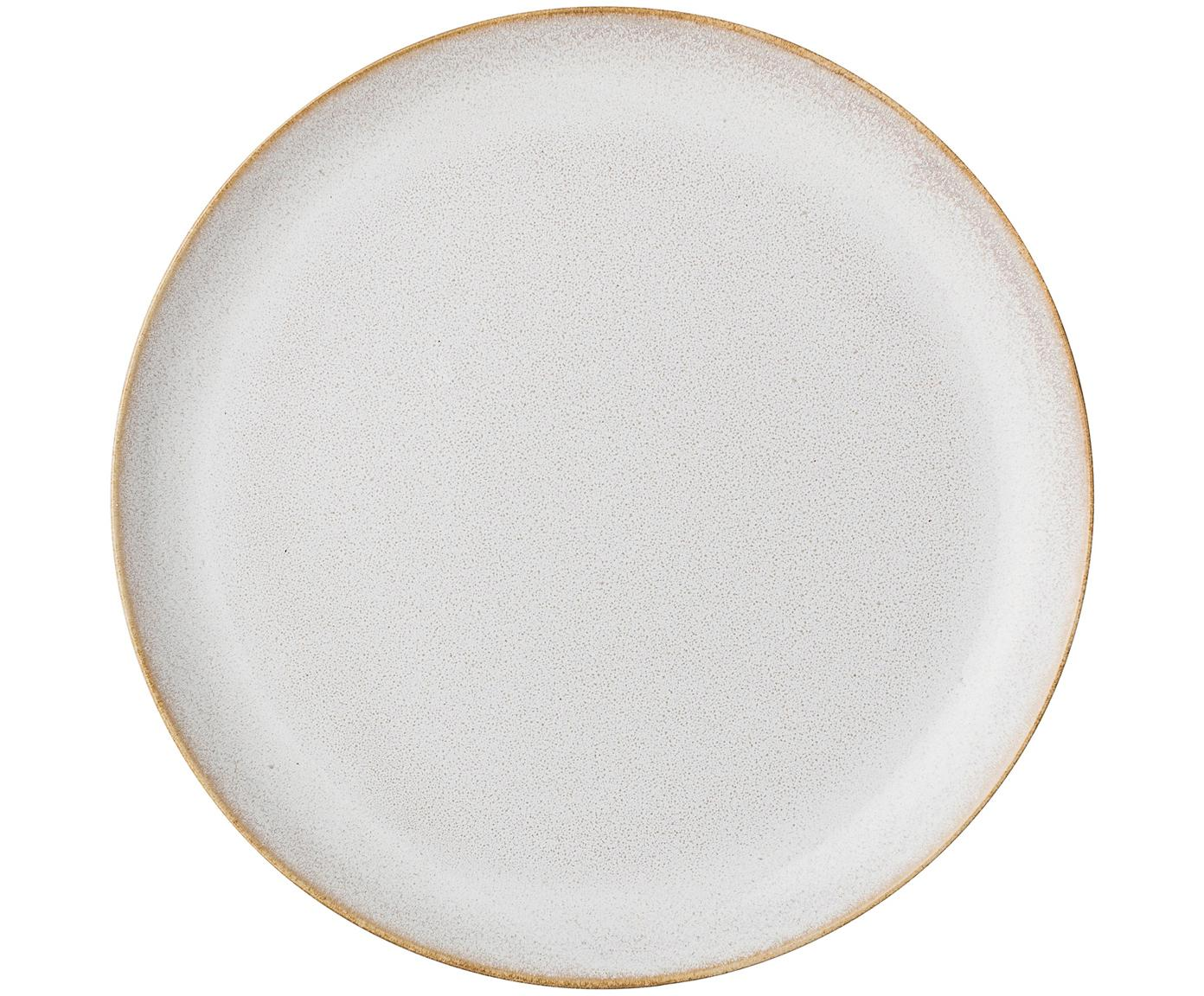 Handgemachte Speiseteller Carrie, 4 Stück, Steingut, Gebrochenes Weiß, Braun, Ø 25 cm