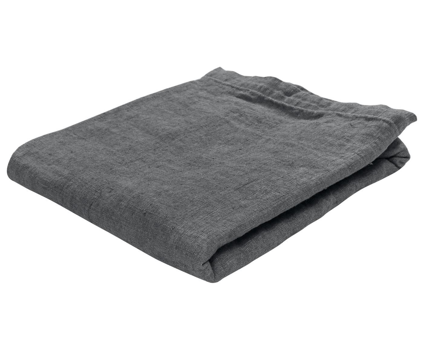 Mantel de lino Ruta, Gris, De 4 a 6 comensales (An 130 x L 170 cm)