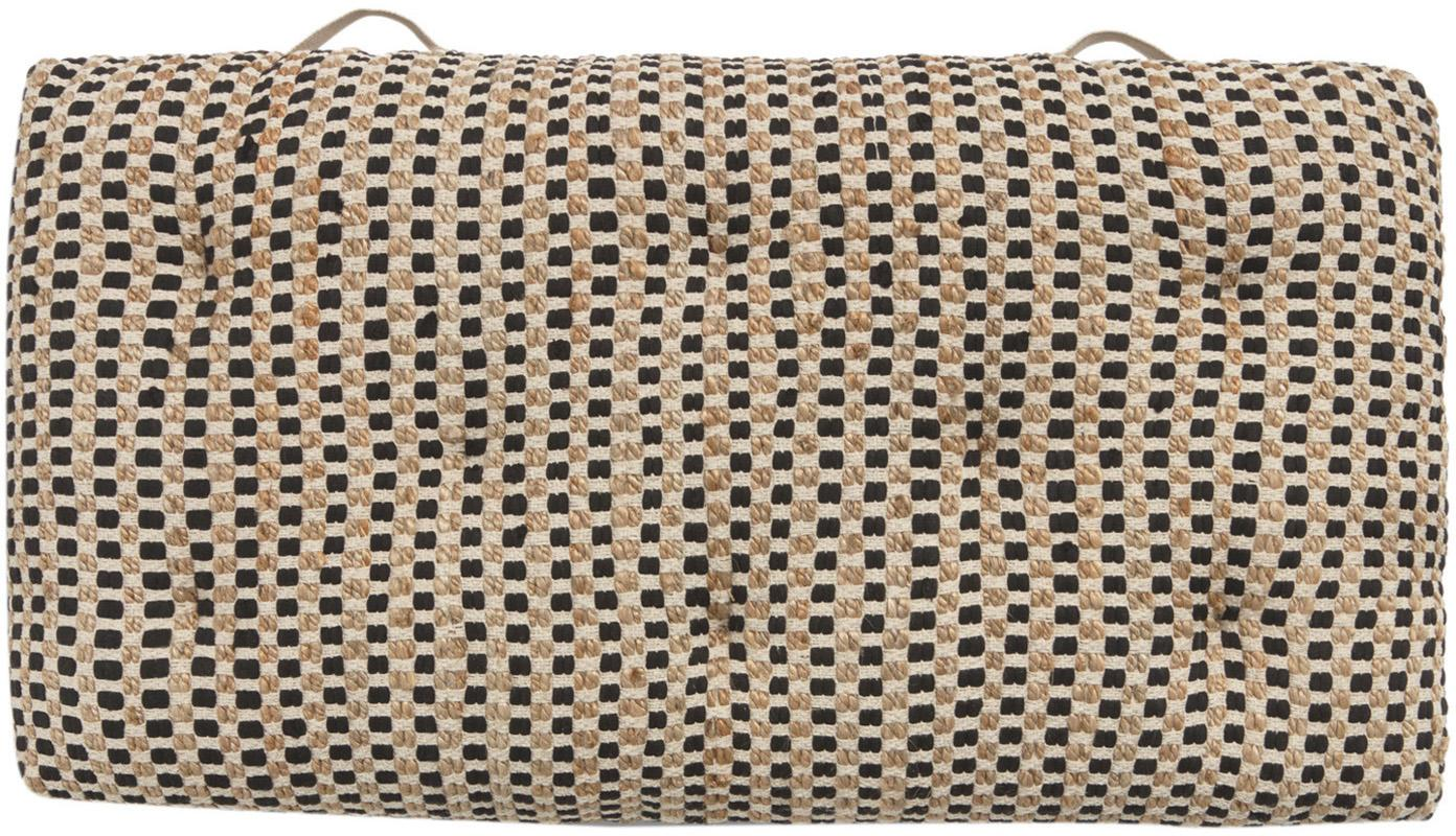 Cojín de suelo de algodón y yute Fiesta, Parte delantera: 55%algodón Chindi , 45%, Parte trasera: 100%algodón, Negro, beige, An 60 cm x L 120 cm