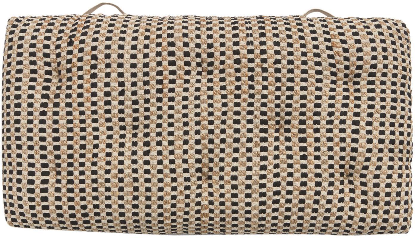 Großes Bodenkissen Fiesta aus Baumwolle/Jute, Vorderseite: 55% Chindi Baumwolle, 45%, Rückseite: 100% Baumwolle, Schwarz, Beige, 60 x 120 cm