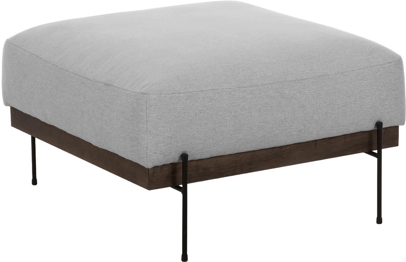 Sofa-Hocker Brooks, Bezug: Polyester 35.000 Scheuert, Gestell: Kiefernholz, massiv, Rahmen: Kiefernholz, lackiert, Füße: Metall, pulverbeschichtet, Grau, 80 x 43 cm