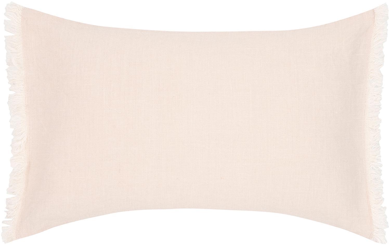 Leinen-Kissenhülle Luana in Apricot mit Fransen, 100% Leinen, Apricot, 30 x 50 cm