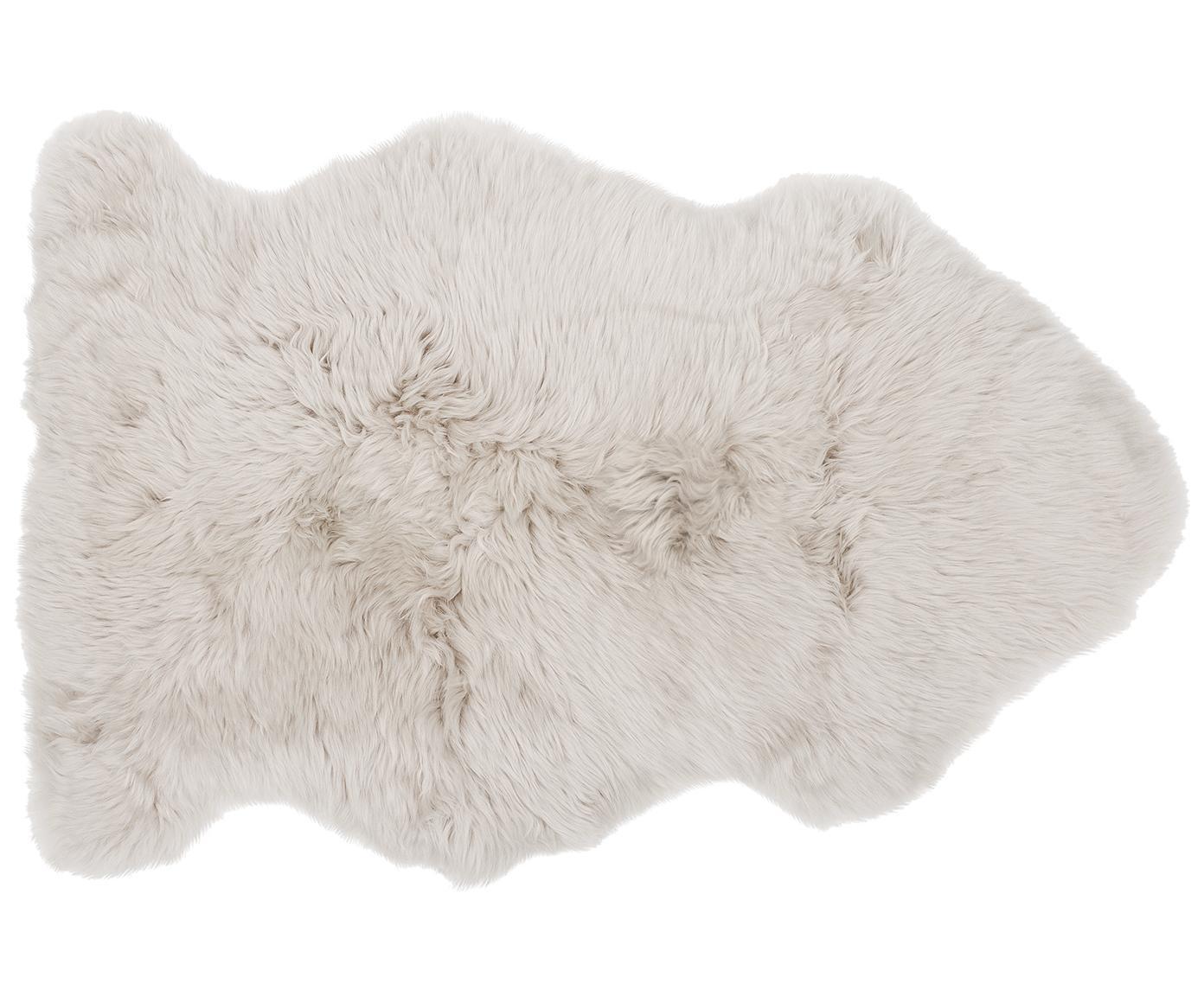 Schapenvacht Oslo, glad, Bovenzijde: 100% schapenvacht, Onderzijde: 100% leer, chroomvrij gel, Beige, 60 x 90 cm