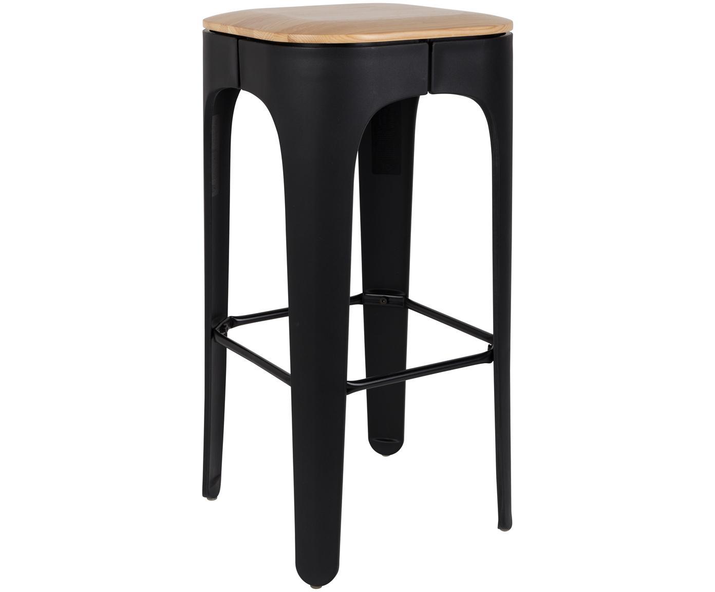 Barhocker Up-High, Beine: Polypropylen, matt lackie, Sitz: Eschenholz Beine: Schwarz Fußstütze: Schwarz, 35 x 73 cm