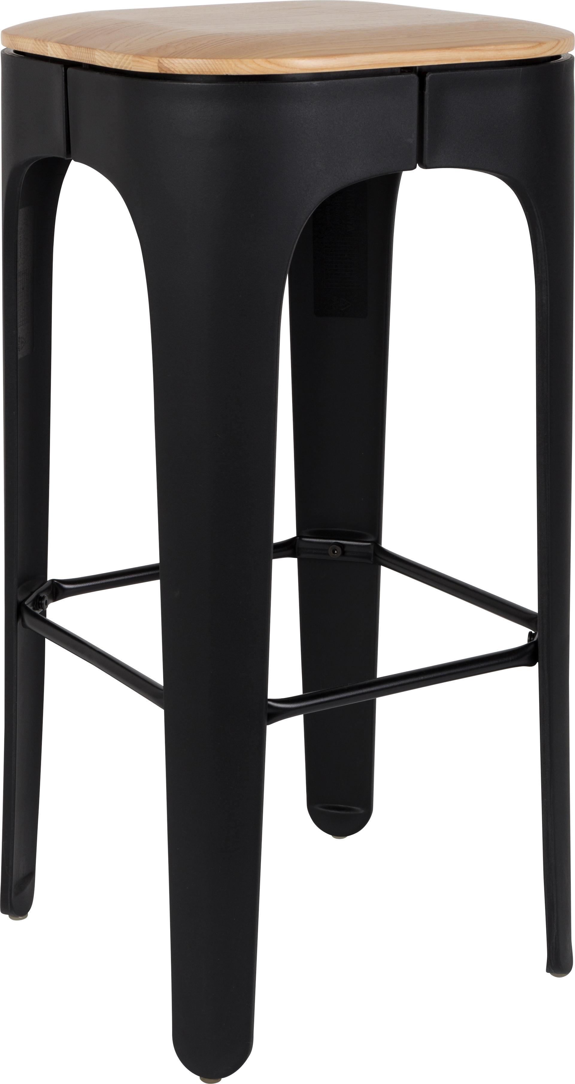 Sgabello da bar Up-High, Seduta: legno di frassino massicc, Gambe: polipropilene, opaco vern, Seduta: legno di frassino<br>Gambe: nero<br>Poggiapiedi: nero, L 35 x A 73 cm