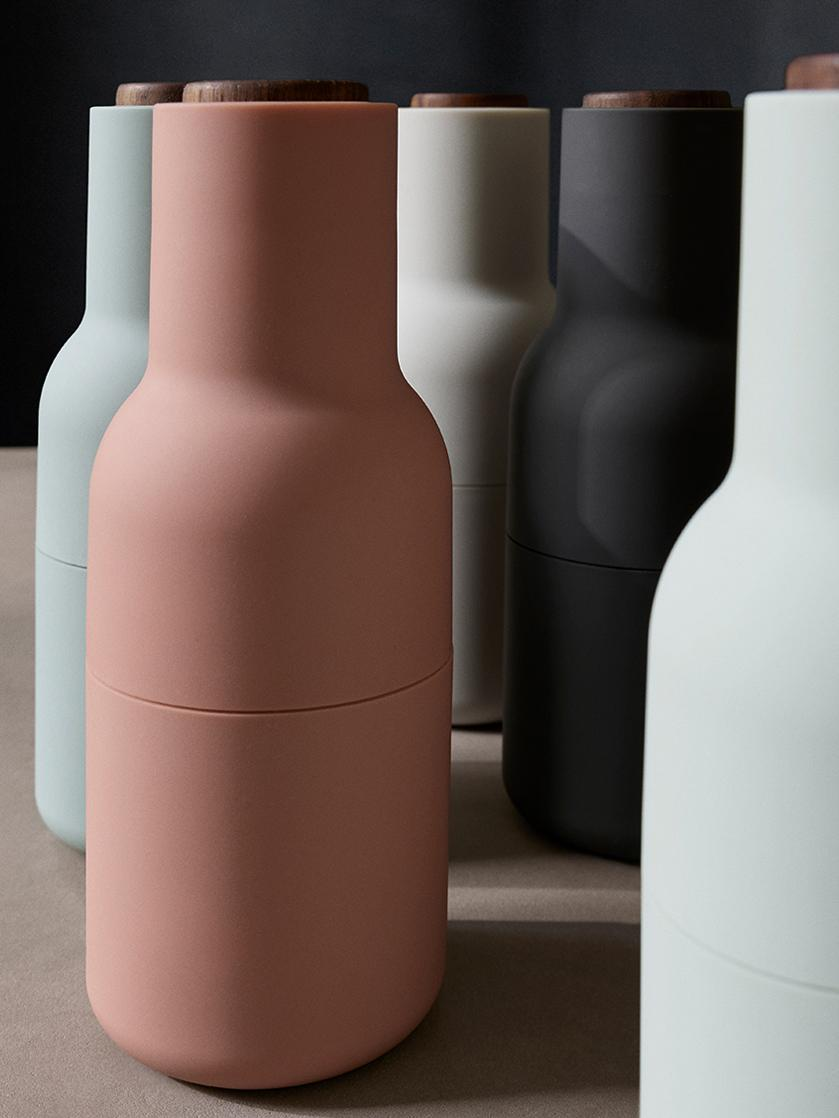 Peper- en zoutmolen Bottle Grinder, 2-delig, Frame: kunststof, Deksel: walnoothout, Rozetinten, Ø 8 x H 21 cm