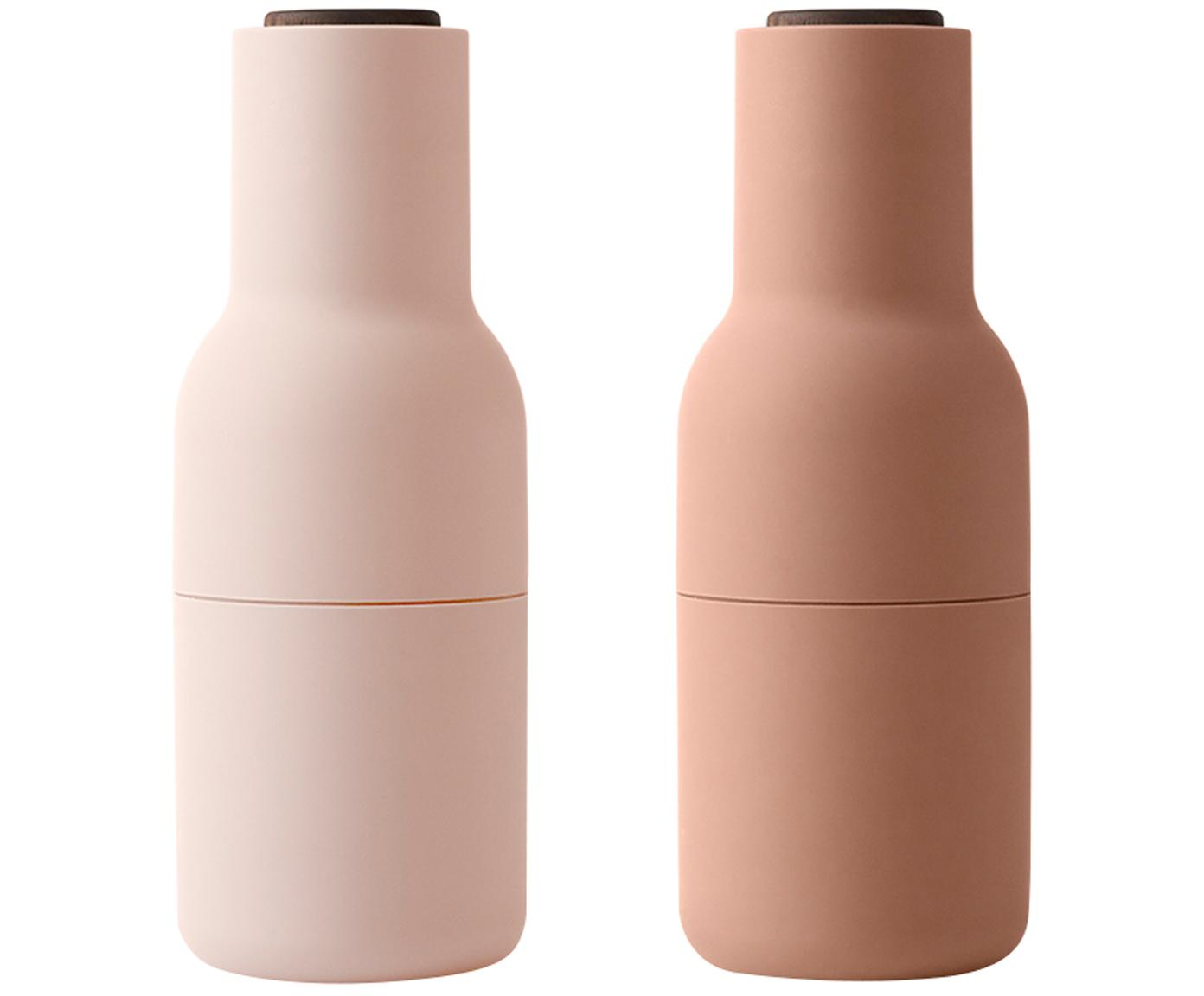 Molinillos de diseño Bottle Grinder, 2pzas., Estructura: plástico, Grinder: cerámica, Tonos rosas, Ø 8 x Al 21 cm