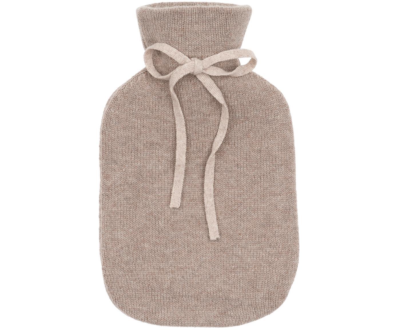 Kaschmir-Wärmflasche Florentina, Bezug: 70% Kaschmir, 30% Merinow, Bezug: TaupeZierschleife: BeigeWärmflasche: Cremeweiss, 19 x 30 cm