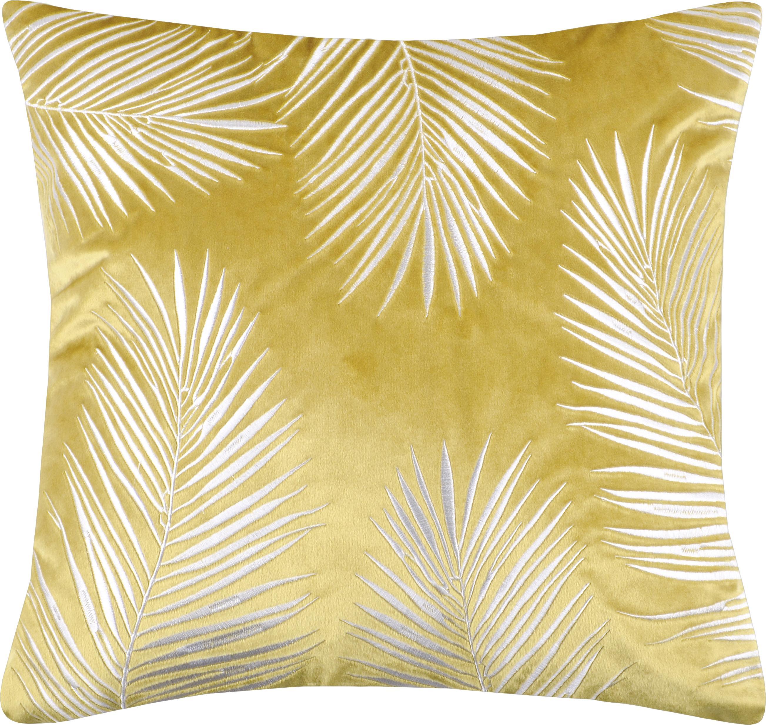 Schimmernde Samt-Kissenhülle Ibarra mit Palmenblatt Stickerei, 100% Polyester, Gelb, Weiß, 45 x 45 cm