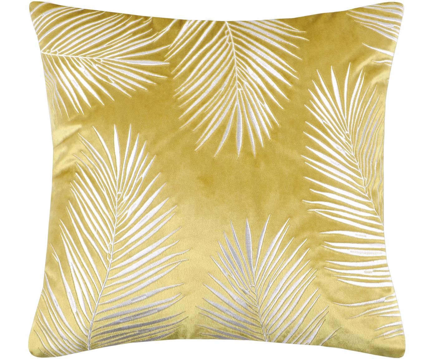 Samt-Kissenhülle Ibarra mit Palmenblatt Stickerei, 100% Polyester, Gelb, Weiß, 45 x 45 cm
