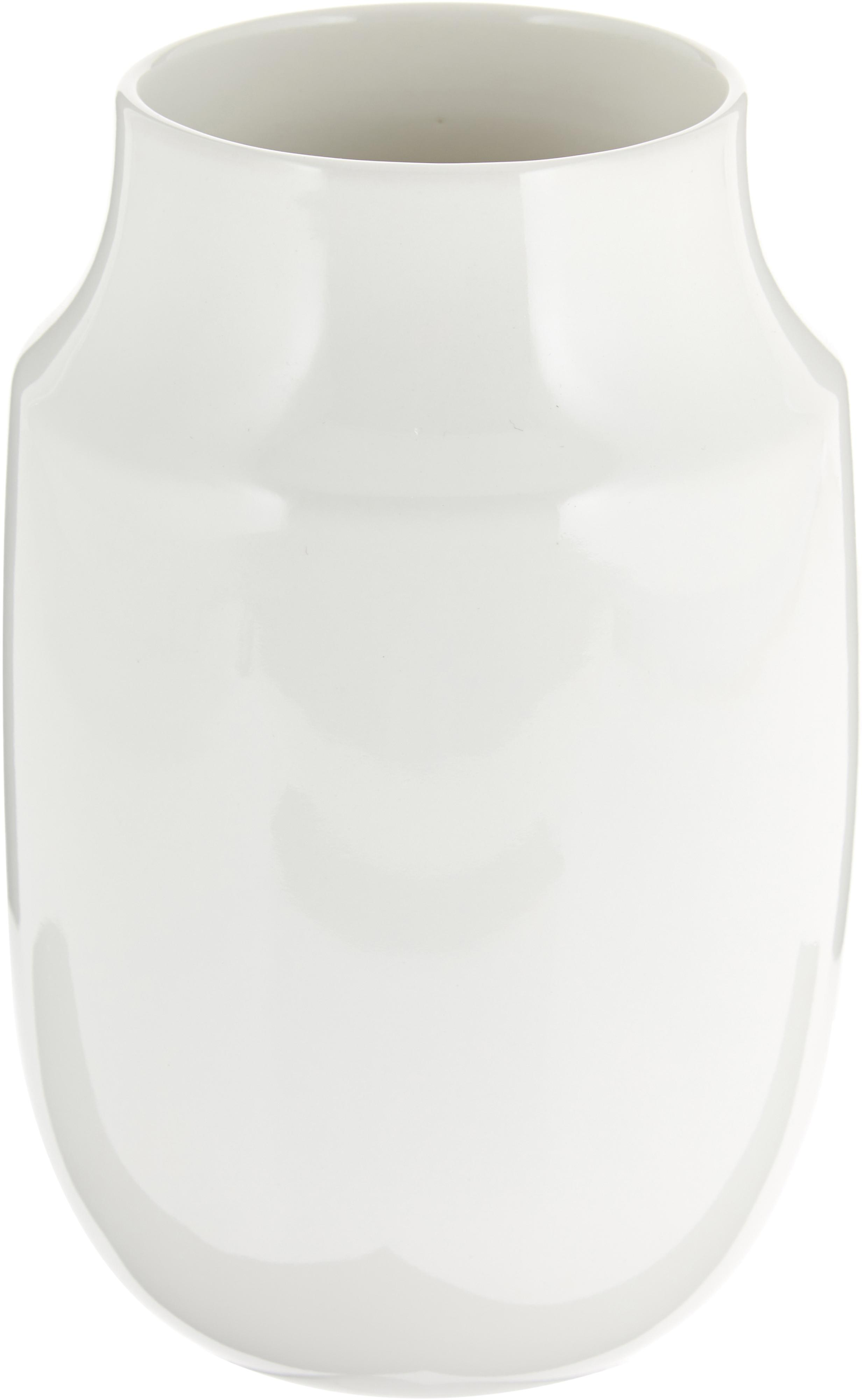 Handgemaakte vaas Valeria, Keramiek, Glanzend wit, Ø 13 x H 20 cm