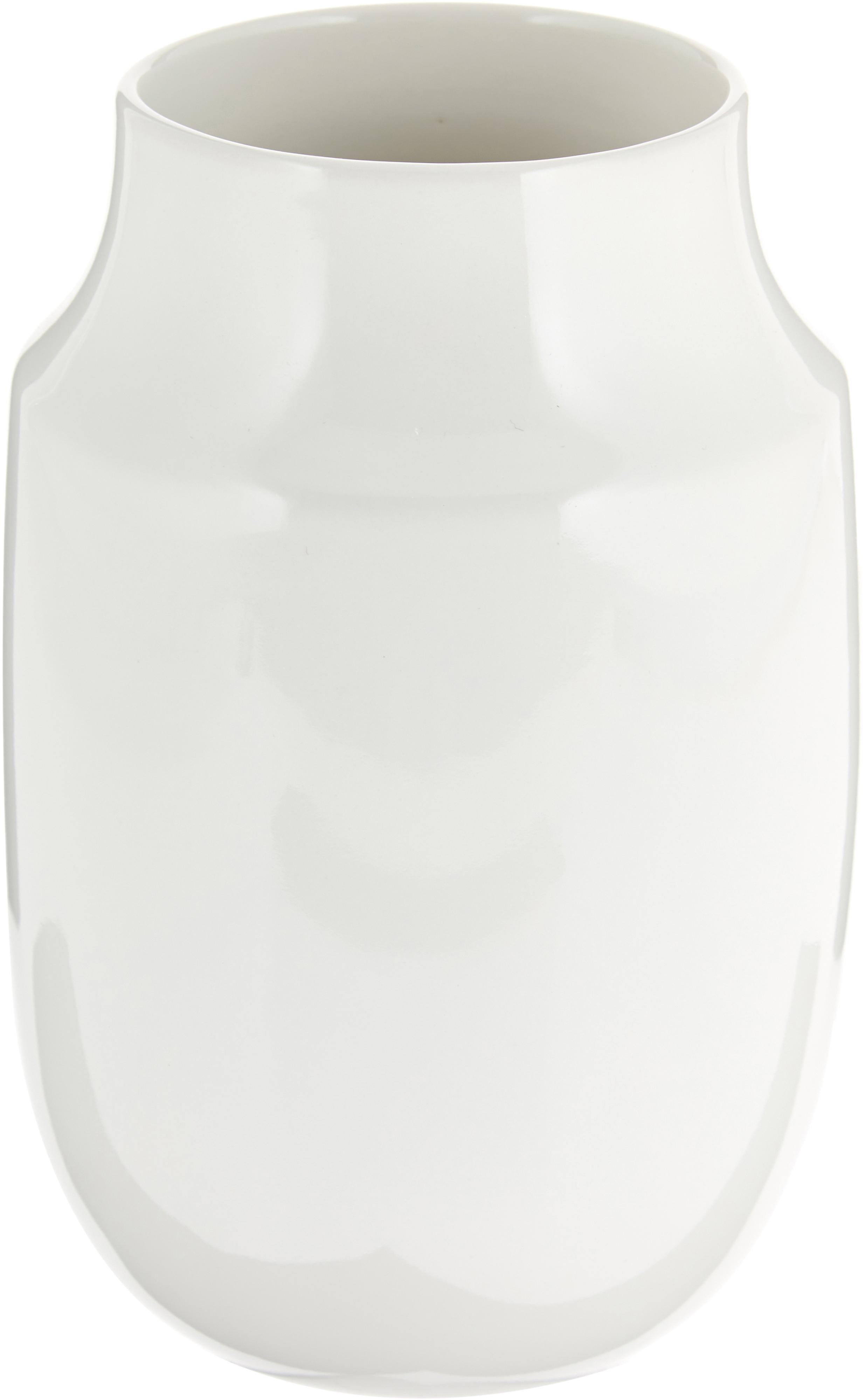 Jarrón artesanal Valeria, Cerámica, Blanco brillante, Ø 13 x H 20 cm