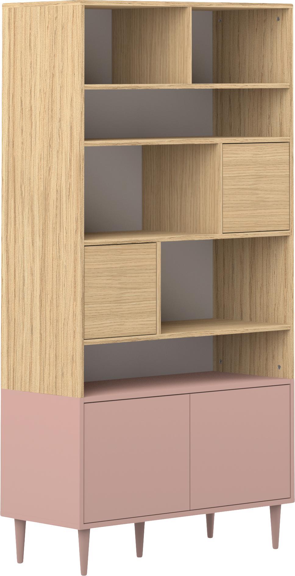 Libreria in design scandi Horizon, Piedini: legno di faggio, massicci, Legno di quercia, rosa cipria, Larg. 90 x Alt. 180 cm