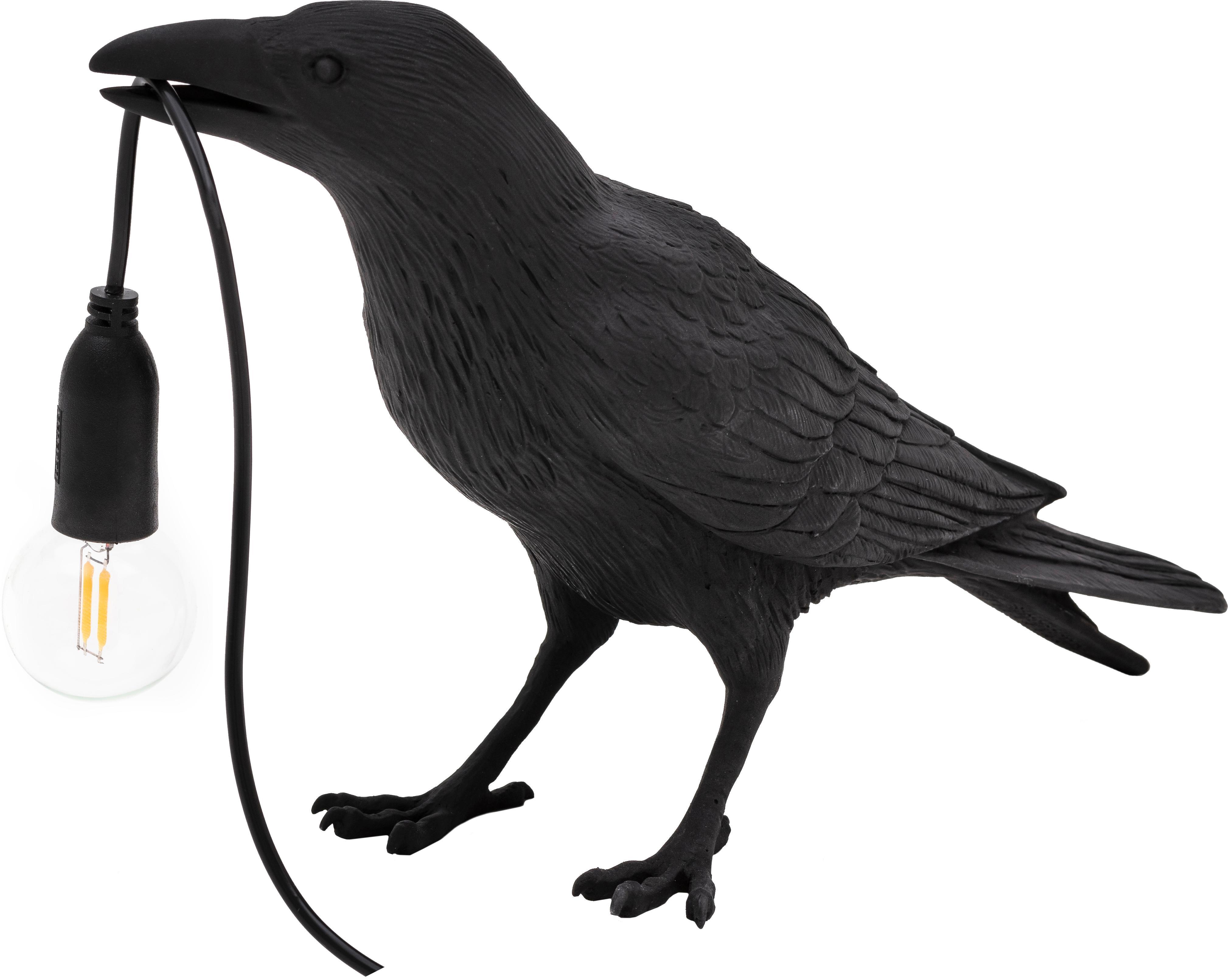 Lámpara de mesa de diseño Bird, Lámpara: resina, Cable: plástico, Negro, An 33 x Al 12