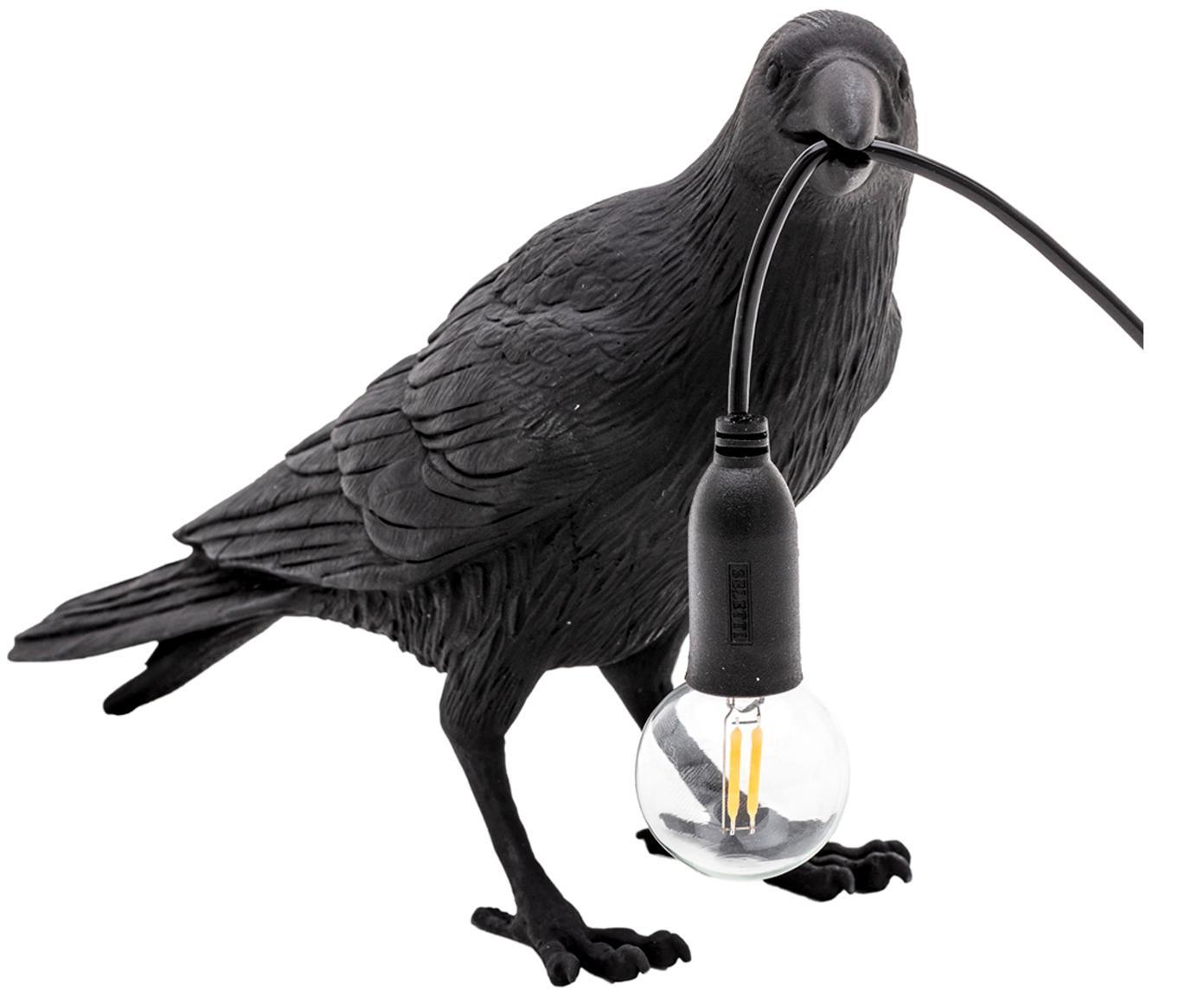 Lámpara de mesa de diseño Bird, Cable: plástico, Negro, An 33 x Al 12