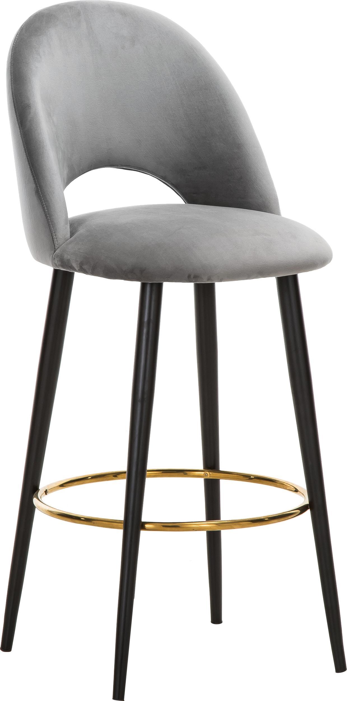 Sedia da bar in velluto Rachel, Rivestimento: velluto (poliestere) 50.0, Gambe: metallo verniciato a polv, Velluto grigio, Larg. 48 x Alt. 110 cm