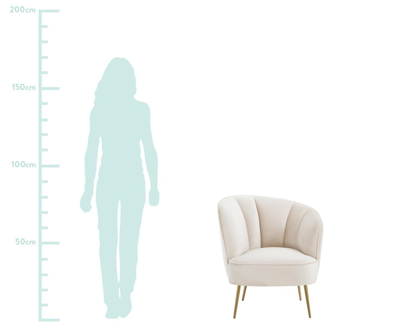 Samt-Cocktailsessel Louise in Beige, Bezug: Samt (Polyester) Der hoch, Füße: Metall, beschichtet, Samt Beige, B 76 x T 74 cm