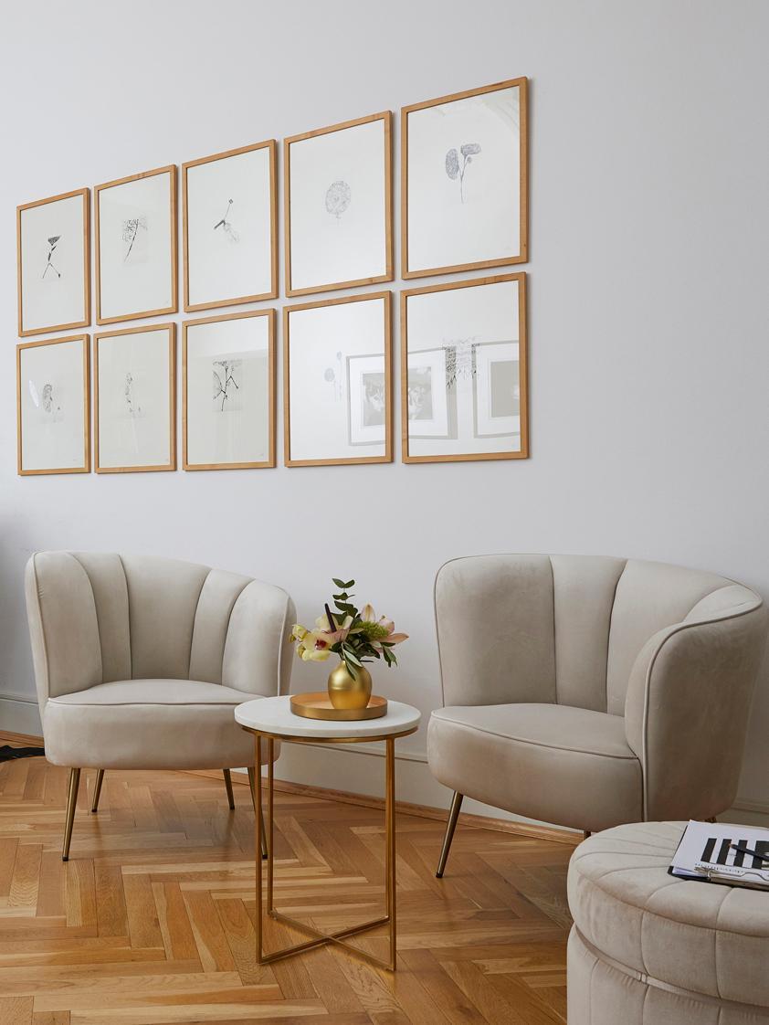 Poltrona in velluto Louise, Rivestimento: velluto (poliestere) 30.0, Piedini: metallo rivestito, Velluto beige, Larg. 76 x Prof. 75 cm