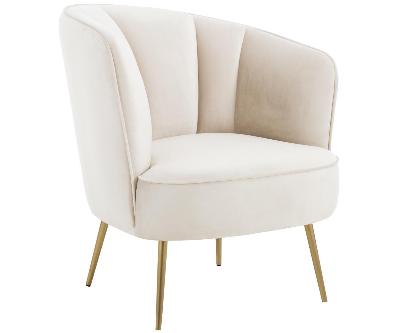 Fluwelen fauteuil Louise, Bekleding: fluweel (polyester), Poten: gecoat metaal, Beige, B 76 x D 74 cm