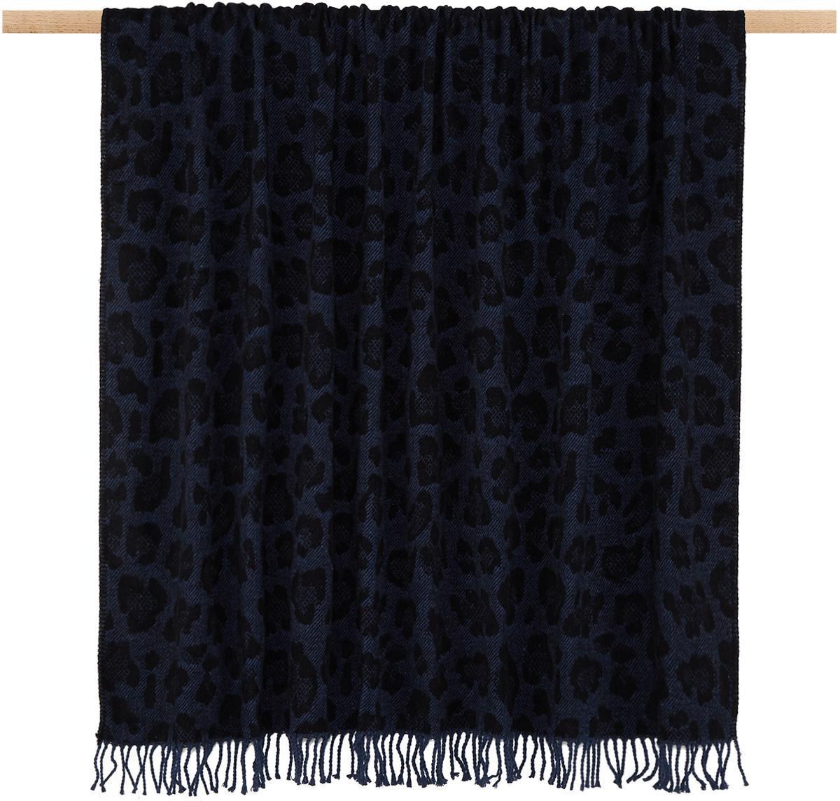 Plaid Bory met luipaarden print, 60%katoen, 40%acryl, Blauw, 150 x 200 cm