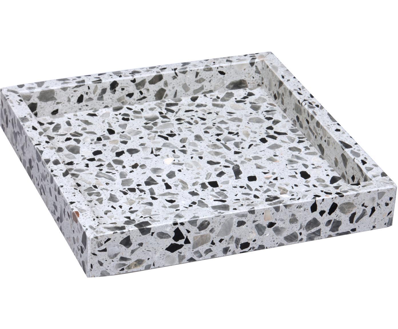 Tablett Hygge aus Terrazzo, Terrazzo, Grautöne, B 20 x T 20 cm