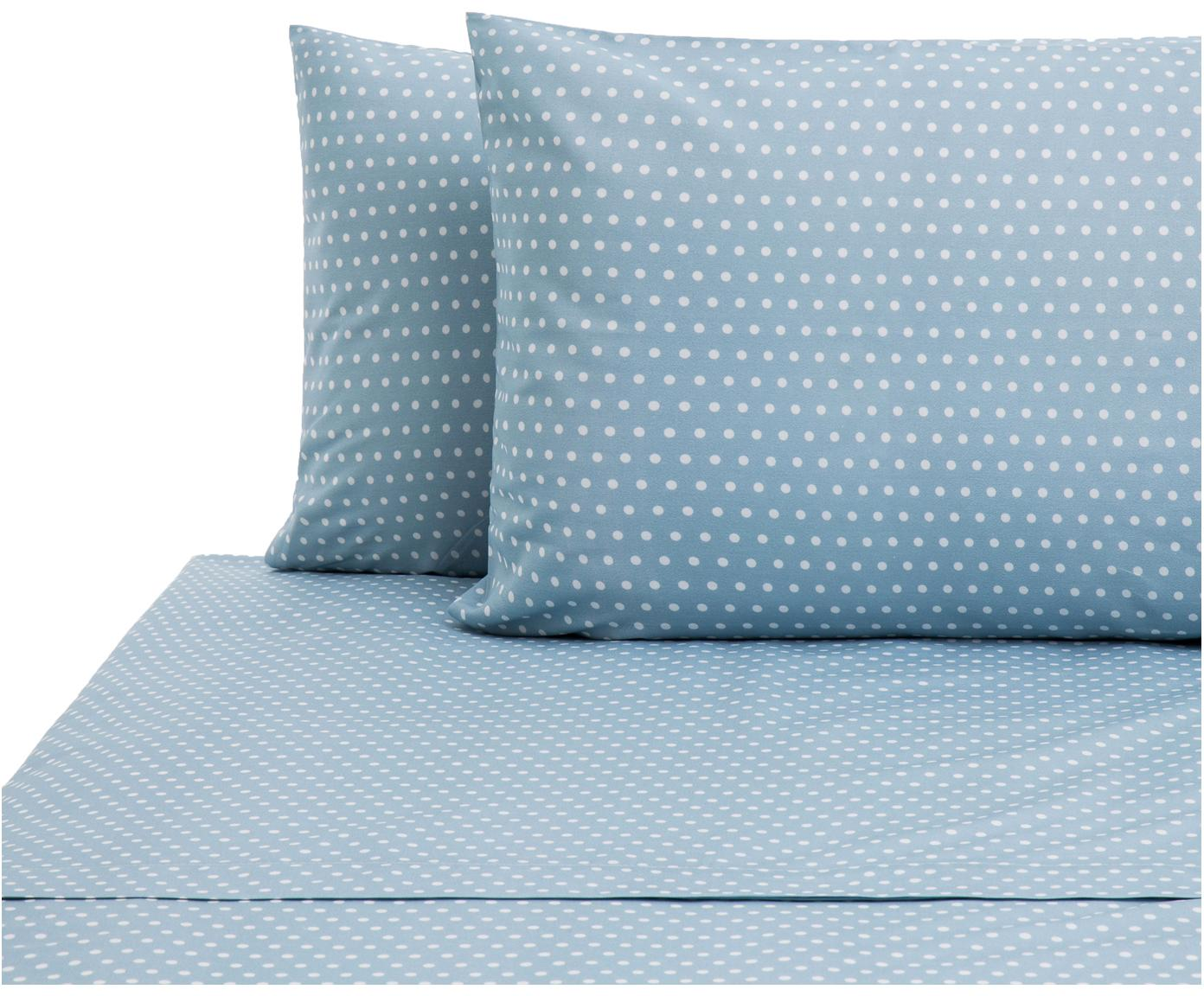 Set lenzuola in cotone Perun 2 pz, Cotone, Blu, bianco, 240 x 270 cm