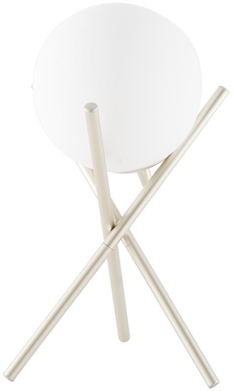 Tafellamp Erik, Lampenkap: glas, Lampvoet: gelakt metaal, Wit, champagnekleurig, Ø 15 x H 33 cm