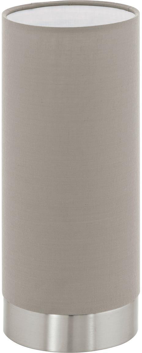 Dimbare tafellamp Pasteri, Lampenkap: polyester, Lampvoet: vernikkeld staal, Taupe, nikkelkleurig, Ø 12 x H 26 cm