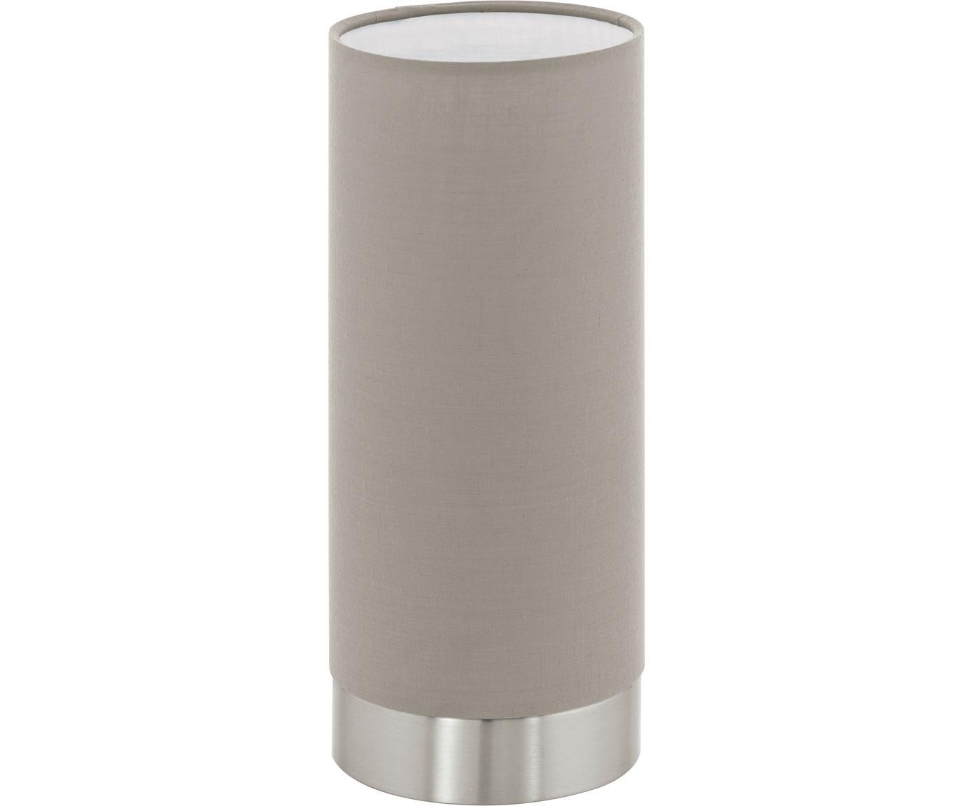 Dimmbare Tischleuchte Pasteri, Lampenschirm: Polyester, Lampenfuß: Stahl, vernickelt, Taupe, Nickel, Ø 12 x H 26 cm