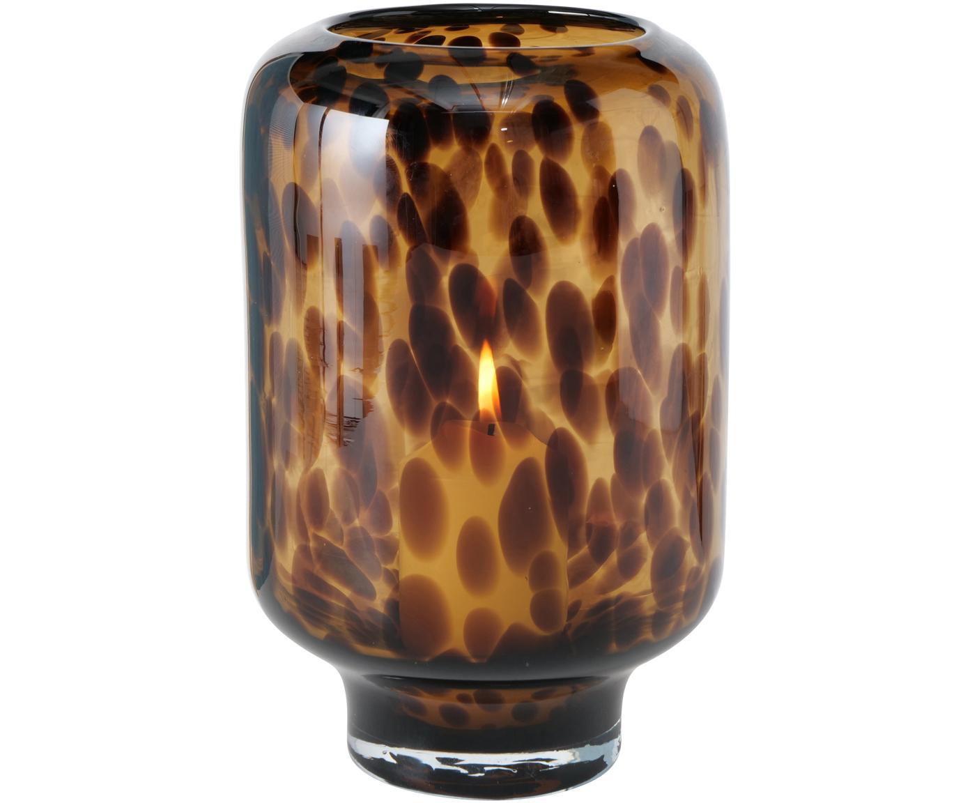 Windlicht Leopard, Glas, Brauntöne, Ø 14 x H 22 cm