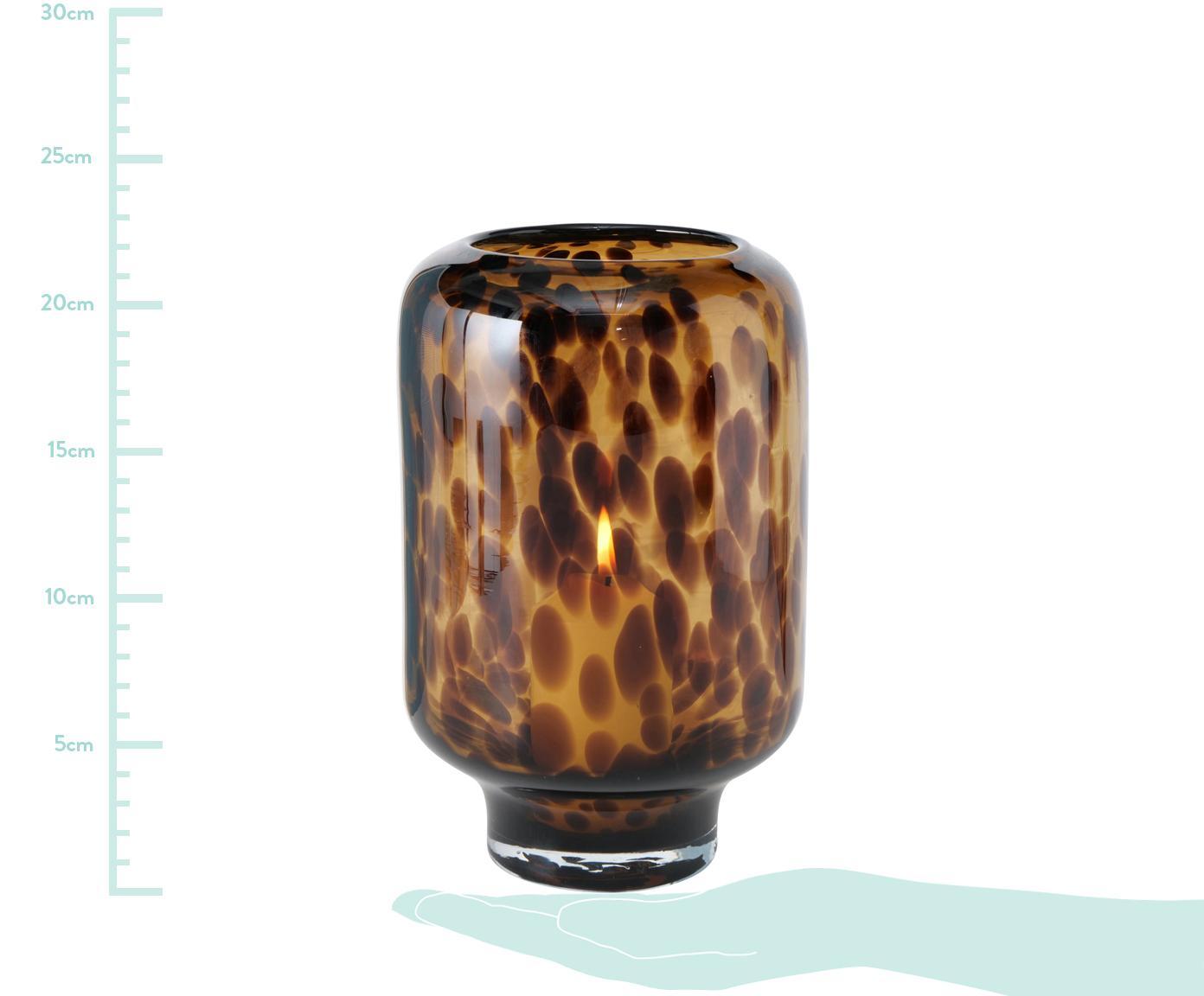 Świecznik Leopard, Szkło, Odcienie brązowego, Ø 14 x W 22 cm