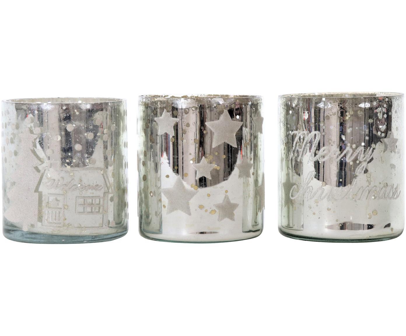 Windlichter-Set Merry Christmas, 3-tlg., Glas, Silberfarben, Ø 7 x H 8 cm