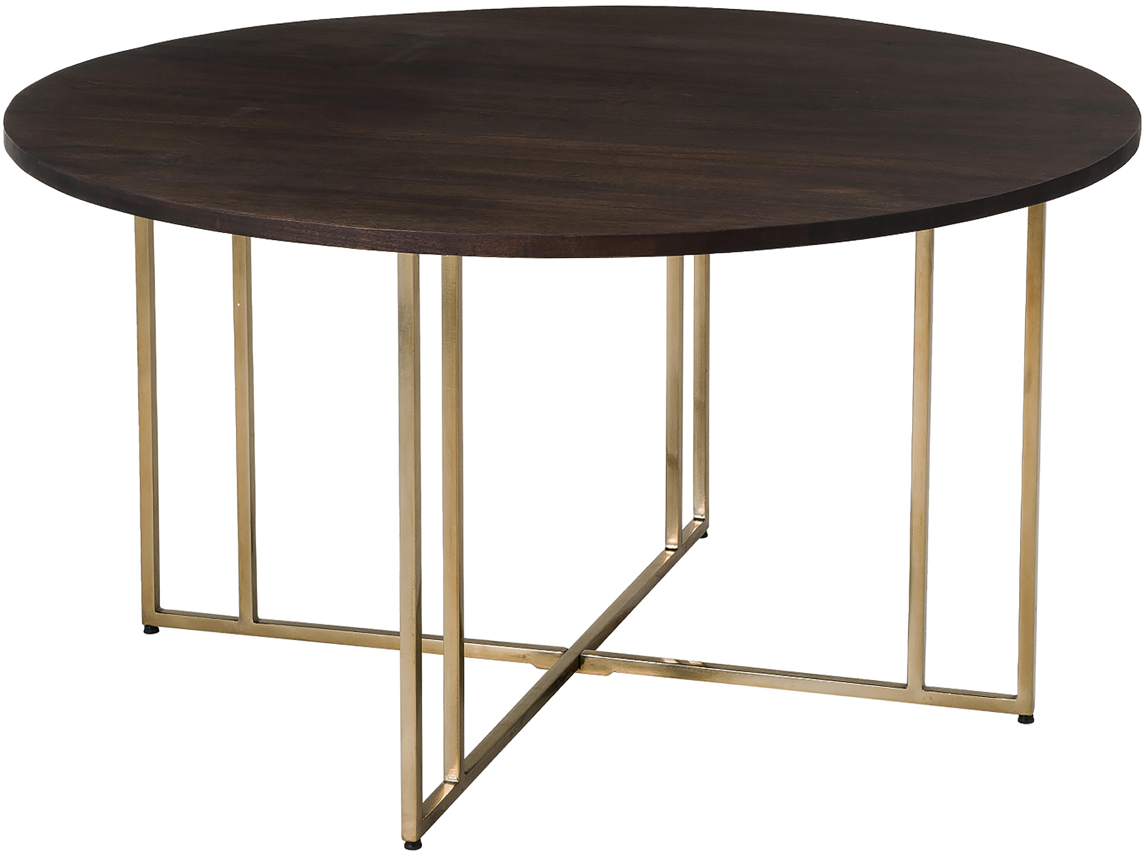 Mesa de comedor redonda de madera maciza Luca, Tablero: madera de mango, Estructura: metal, recubierto, Madera oscura, dorado, Ø 140 x Al 75 cm